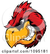 Clipart Aggressive Cardinal Mascot Head Royalty Free Vector Illustration by Chromaco