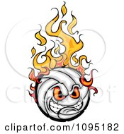 Clipart Aggressive Flaming Volleyball Ball Mascot Royalty Free Vector Illustration by Chromaco