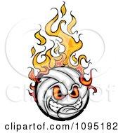 Clipart Aggressive Flaming Volleyball Ball Mascot Royalty Free Vector Illustration