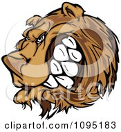 Clipart Angry Growling Bear Mascot Head Royalty Free Vector Illustration