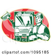 Clipart Retro Garbage Man And Truck Over A Red Oval Royalty Free Vector Illustration