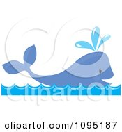 Clipart Happy Whale Spouting Water Royalty Free Vector Illustration