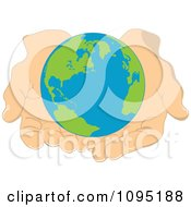 Clipart Globe Held Gently In Human Hands Royalty Free Vector Illustration