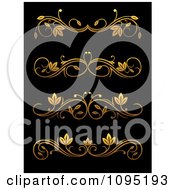 Clipart Golden Flourish Rule And Border Design Elements 9 Royalty Free Vector Illustration