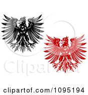 Clipart Black And Red And White Heraldic Eagles Royalty Free Vector Illustration