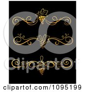 Clipart Golden Grape Vine Divider Rule Design Elements Royalty Free Vector Illustration