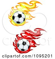 Clipart Soccer Balls With Yellow And Red Flames Royalty Free Vector Illustration