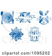 Clipart Blue And White Restaurant Logos Royalty Free Vector Illustration