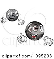Clipart Black And Gray Thumbs Up Billiards Balls Royalty Free Vector Illustration