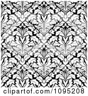 Clipart Black And White Triangular Damask Pattern Seamless Background 14 Royalty Free Vector Illustration
