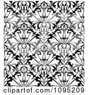 Clipart Black And White Triangular Damask Pattern Seamless Background 13 Royalty Free Vector Illustration