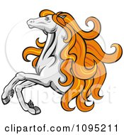 Clipart Leaping Orange Haired Horse Royalty Free Vector Illustration