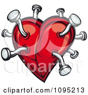 Clipart Red Heart Jabbed With Nails Royalty Free Vector Illustration