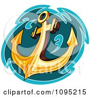 Clipart Gold Anchor And Teal Water Royalty Free Vector Illustration