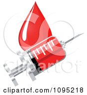 Clipart Vaccine Syringe And Blood Drop Royalty Free Vector Illustration