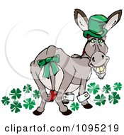 St Patricks Day Donkey Looking Back With Clovers A Gold Tooth And Hat