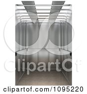 Clipart 3d Shiny Chrome Elevator With Open Doors Royalty Free CGI Illustration