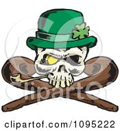 St Patricks Day Skull With Crossed Canes A Pipe Gold Eye And Leprechaun Hat