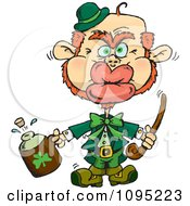 Clipart St Patricks Day Leprechaun Puckering His Lips For A Kiss Royalty Free Vector Illustration
