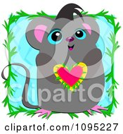 Cute Mouse Holding A Heart With A Vine Frame