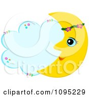 Crescent Moon With A Floral Band And Cloud With Copyspace