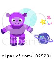 Purple Alien Planet And Stars