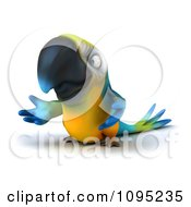 Clipart 3d Blue Macaw Parrot Presenting Royalty Free CGI Illustration