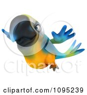 Clipart 3d Blue Macaw Parrot Flying Royalty Free CGI Illustration