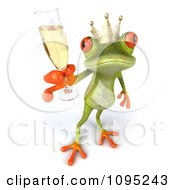 Clipart 3d Springer Frog Prince Toasting With Champagne 4 Royalty Free CGI Illustration