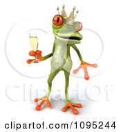 Clipart 3d Springer Frog Prince Toasting With Champagne 3 Royalty Free CGI Illustration