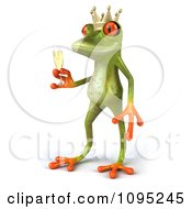 Clipart 3d Springer Frog Prince Toasting With Champagne 2 Royalty Free CGI Illustration