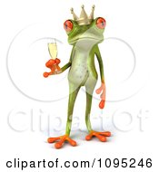 Clipart 3d Springer Frog Prince Toasting With Champagne 1 Royalty Free CGI Illustration