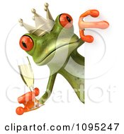 Clipart 3d Springer Frog Prince Toasting With Champagne And A Sign 2 Royalty Free CGI Illustration