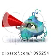 Clipart 3d Chubby Blue Monster Using A Megaphone 2 Royalty Free CGI Illustration