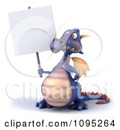 3d Purple Dragon Holding A Sign 5