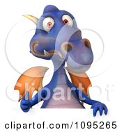 3d Purple Dragon Holding A Sign 6