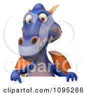 3d Purple Dragon Holding A Sign 7