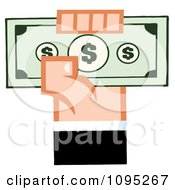 Clipart Caucasian Hand Holding Up Cash Royalty Free Vector Illustration
