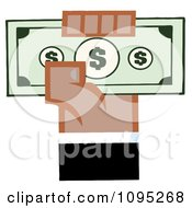 Clipart Black Hand Holding Up Cash Royalty Free Vector Illustration