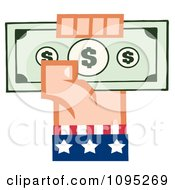 Caucasian American Hand Holding Up Cash