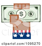Clipart Black American Hand Holding Up Cash Royalty Free Vector Illustration by Hit Toon