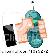 Clipart Caucasian Hand Holding A Turquoise Cell Phone Royalty Free Vector Illustration by Hit Toon