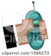 Clipart Black Hand Holding A Turquoise Cell Phone Royalty Free Vector Illustration by Hit Toon