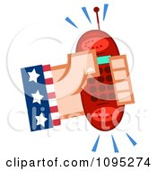 Clipart Caucasian American Hand Holding A Ringing Red Cell Phone Royalty Free Vector Illustration by Hit Toon