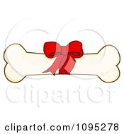 Clipart Bow On A Dog Bone Royalty Free Vector Illustration