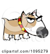 Clipart Mean Brown And White Bull Terrier Dog Royalty Free Vector Illustration