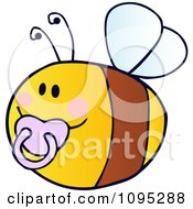 Clipart Baby Bee Flying With A Pink Pacifier Royalty Free Vector Illustration