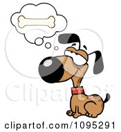 Clipart Brown Dog Sitting And Daydreaming Of Bones Royalty Free Vector Illustration