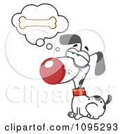 Clipart Dalmatian Dog Sitting And Daydreaming Of Bones Royalty Free Vector Illustration by Hit Toon