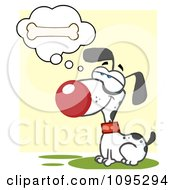 Clipart Dalmatian Doggy Sitting And Daydreaming Of Bones Royalty Free Vector Illustration
